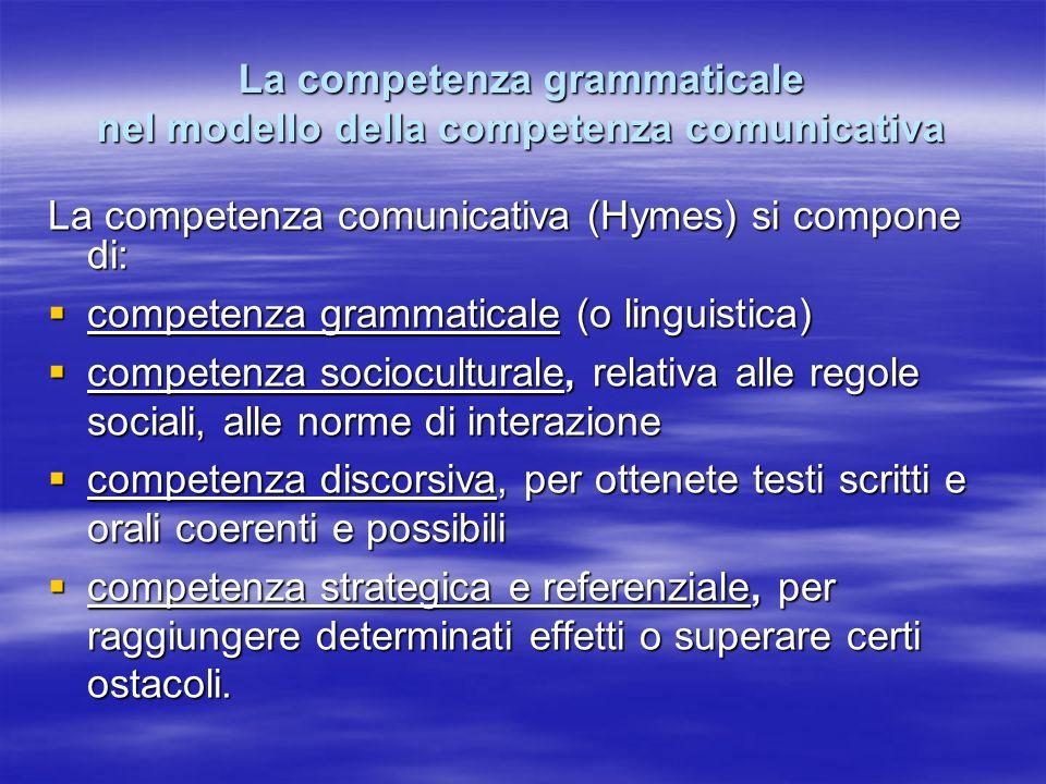 La competenza grammaticale nel modello della competenza comunicativa La competenza comunicativa (Hymes) si compone di: competenza grammaticale (o ling