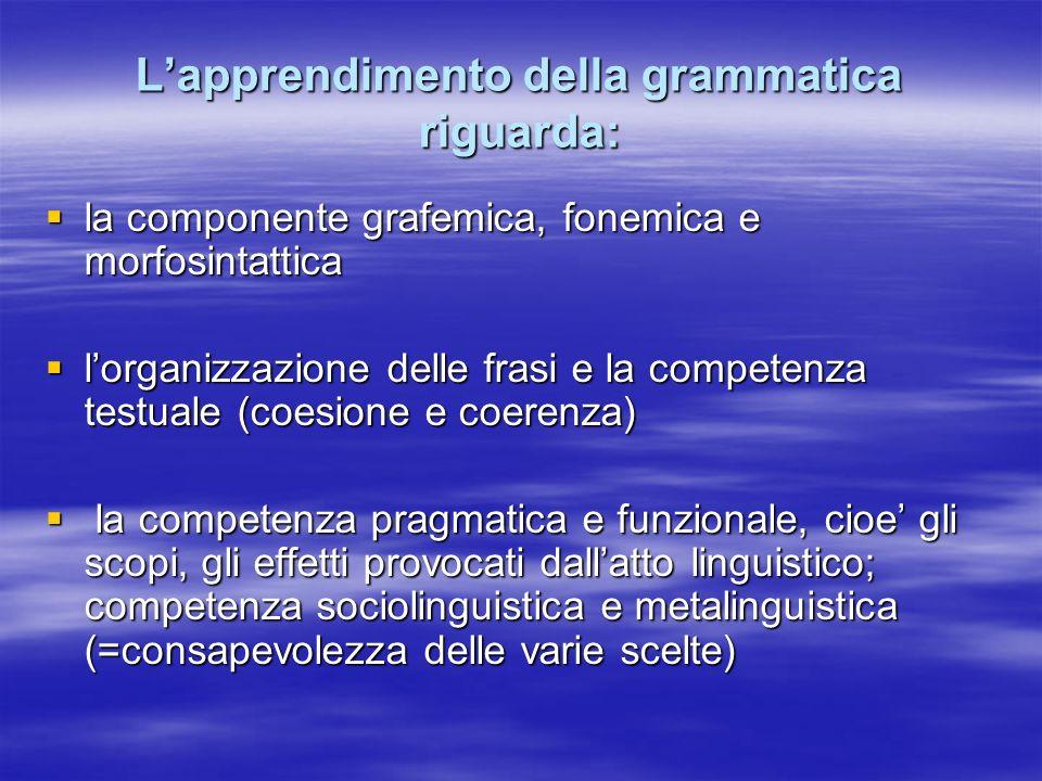Lapprendimento della grammatica riguarda: la componente grafemica, fonemica e morfosintattica la componente grafemica, fonemica e morfosintattica lorg