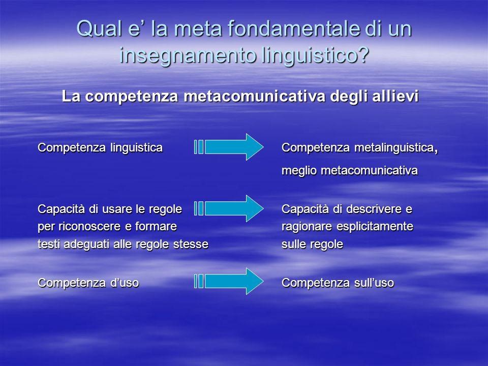 Qual e la meta fondamentale di un insegnamento linguistico? La competenza metacomunicativa degli allievi Competenza linguistica Competenza metalinguis