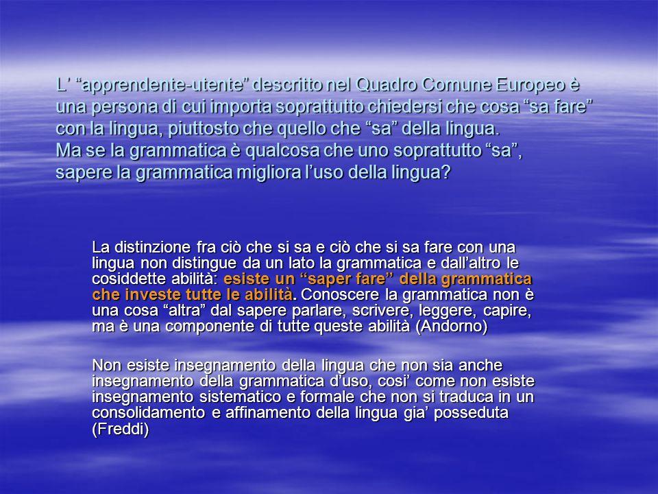 L apprendente-utente descritto nel Quadro Comune Europeo è una persona di cui importa soprattutto chiedersi che cosa sa fare con la lingua, piuttosto