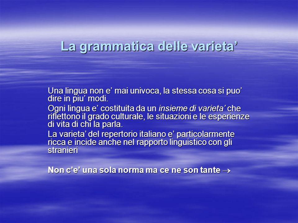 La grammatica delle varieta Una lingua non e mai univoca, la stessa cosa si puo dire in piu modi. Ogni lingua e costituita da un insieme di varieta ch