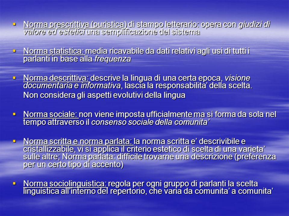 Norma prescrittiva (puristica) di stampo letterario: opera con giudizi di valore ed estetici una semplificazione del sistema Norma prescrittiva (puris