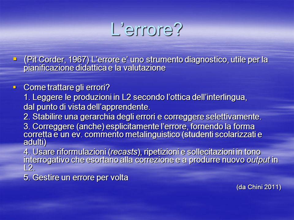 Lerrore? ( Pit Corder, 1967) Lerrore e uno strumento diagnostico, utile per la pianificazione didattica e la valutazione ( Pit Corder, 1967) Lerrore e