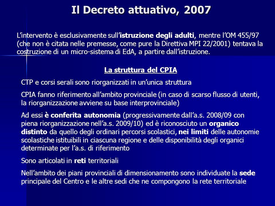 Il Decreto attuativo, 2007 Lintervento è esclusivamente sullistruzione degli adulti, mentre lOM 455/97 (che non è citata nelle premesse, come pure la