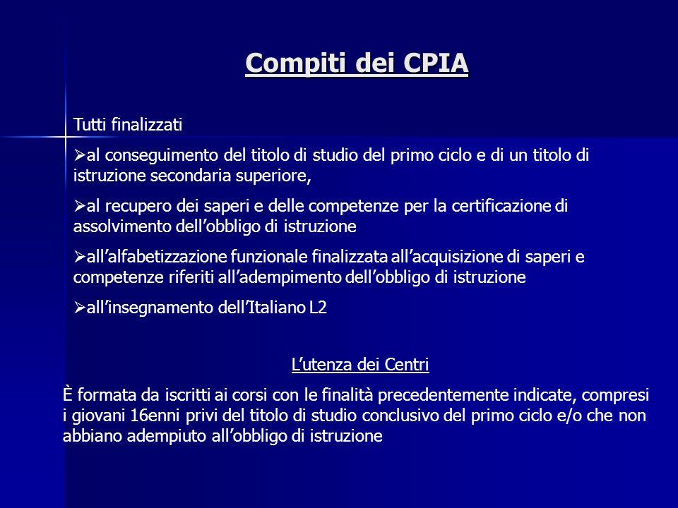 Compiti dei CPIA Tutti finalizzati al conseguimento del titolo di studio del primo ciclo e di un titolo di istruzione secondaria superiore, al recuper