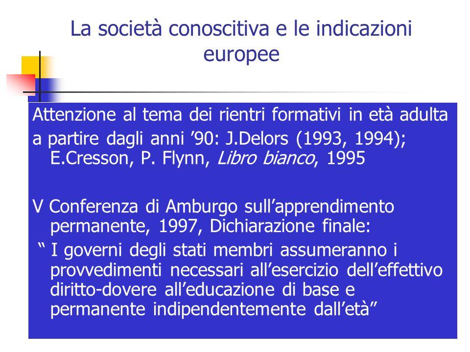 La società conoscitiva e le indicazioni europee Attenzione al tema dei rientri formativi in età adulta a partire dagli anni 90: J.Delors (1993, 1994);