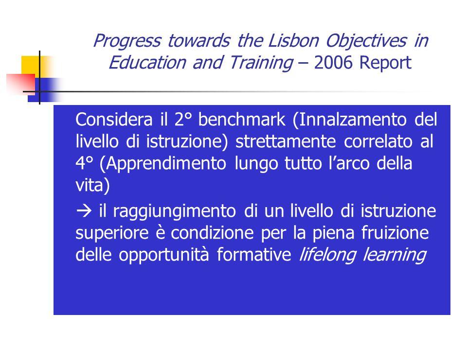 Progress towards the Lisbon Objectives in Education and Training – 2006 Report Considera il 2° benchmark (Innalzamento del livello di istruzione) stre