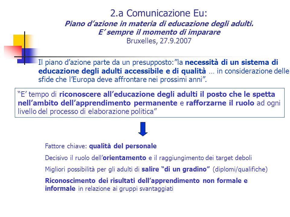 2.a Comunicazione Eu: Piano dazione in materia di educazione degli adulti. E sempre il momento di imparare Bruxelles, 27.9.2007 Il piano dazione parte