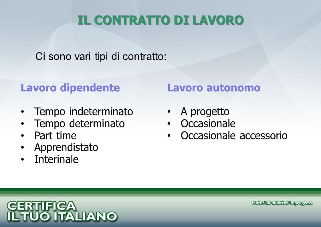 Ci sono vari tipi di contratto: IL CONTRATTO DI LAVORO Lavoro dipendente Tempo indeterminato Tempo determinato Part time Apprendistato Interinale Lavo