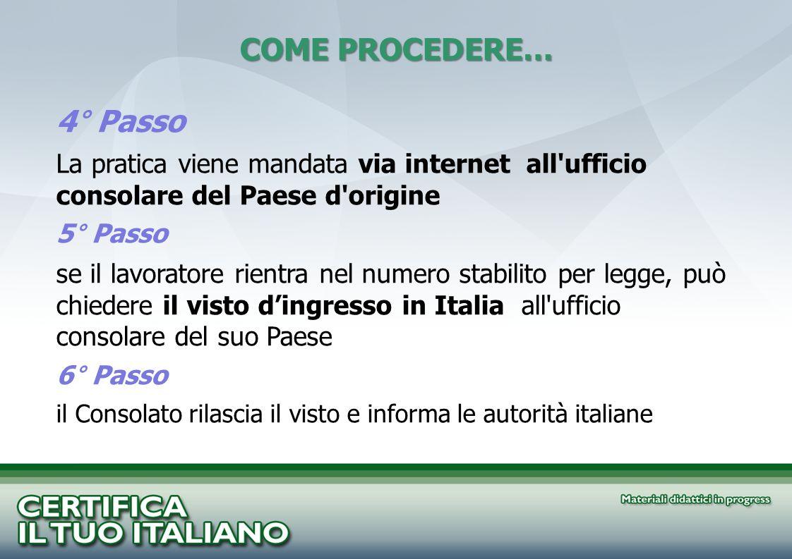 4° Passo La pratica viene mandata via internet all'ufficio consolare del Paese d'origine 5° Passo se il lavoratore rientra nel numero stabilito per le