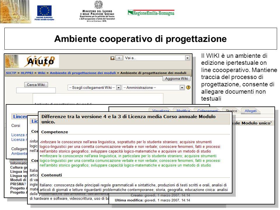 12 Ambiente cooperativo di progettazione Il WIKI è un ambiente di edizione ipertestuale on line coooperativo. Mantiene traccia del processo di progett