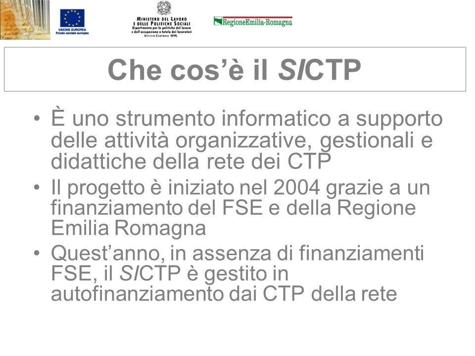 Che cosè il SICTP È uno strumento informatico a supporto delle attività organizzative, gestionali e didattiche della rete dei CTP Il progetto è inizia
