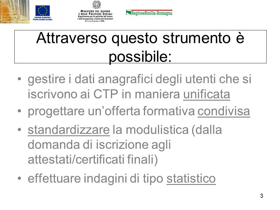 3 Attraverso questo strumento è possibile: gestire i dati anagrafici degli utenti che si iscrivono ai CTP in maniera unificata progettare unofferta fo