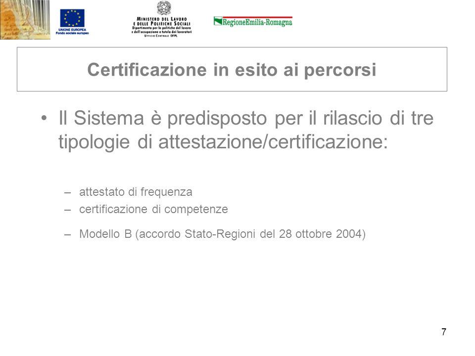 7 Certificazione in esito ai percorsi Il Sistema è predisposto per il rilascio di tre tipologie di attestazione/certificazione: –attestato di frequenz