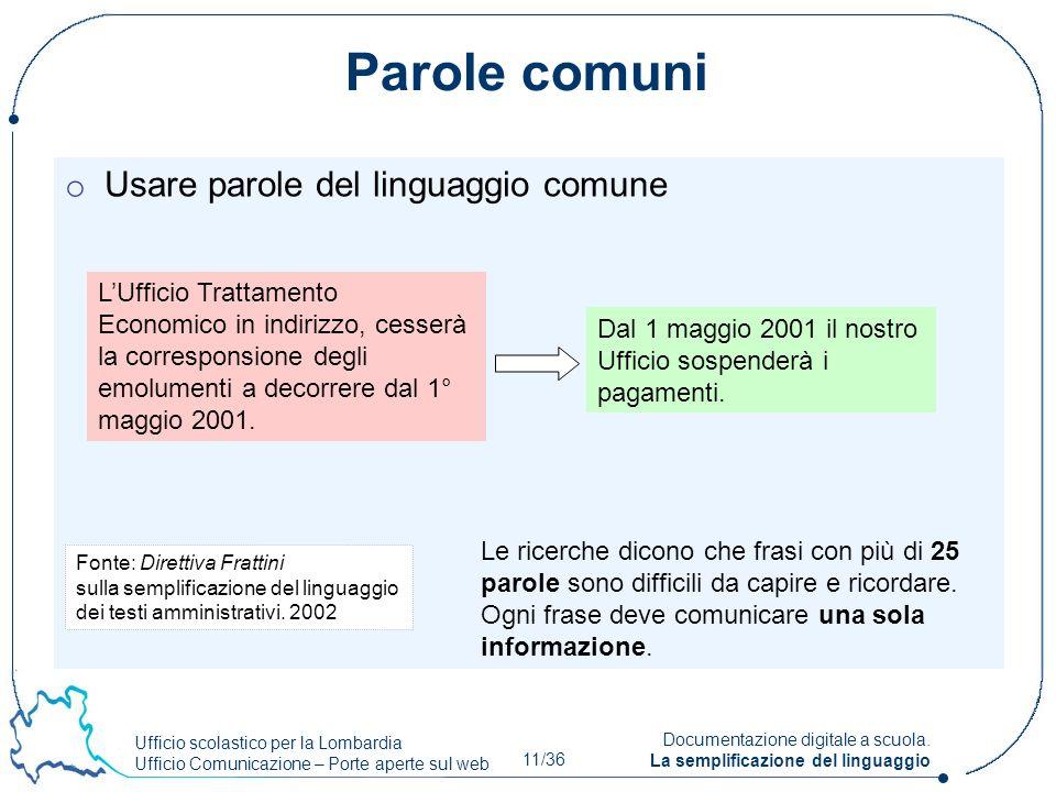 Ufficio scolastico per la Lombardia Ufficio Comunicazione – Porte aperte sul web 11/36 Documentazione digitale a scuola. La semplificazione del lingua