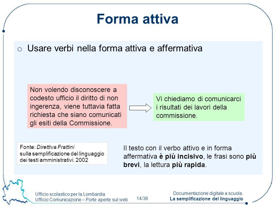 Ufficio scolastico per la Lombardia Ufficio Comunicazione – Porte aperte sul web 14/36 Documentazione digitale a scuola. La semplificazione del lingua