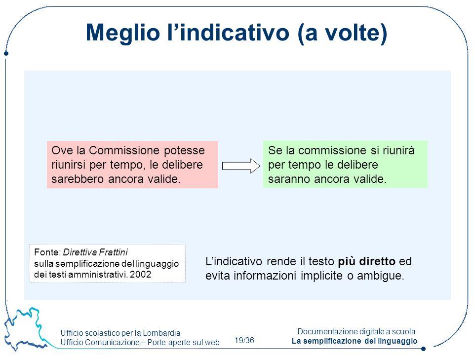 Ufficio scolastico per la Lombardia Ufficio Comunicazione – Porte aperte sul web 19/36 Documentazione digitale a scuola. La semplificazione del lingua