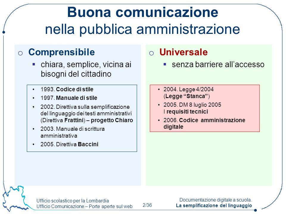 Ufficio scolastico per la Lombardia Ufficio Comunicazione – Porte aperte sul web 2/36 Documentazione digitale a scuola. La semplificazione del linguag