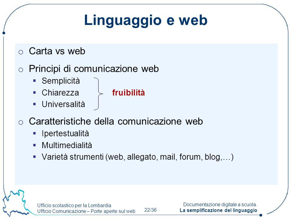 Ufficio scolastico per la Lombardia Ufficio Comunicazione – Porte aperte sul web 22/36 Documentazione digitale a scuola. La semplificazione del lingua