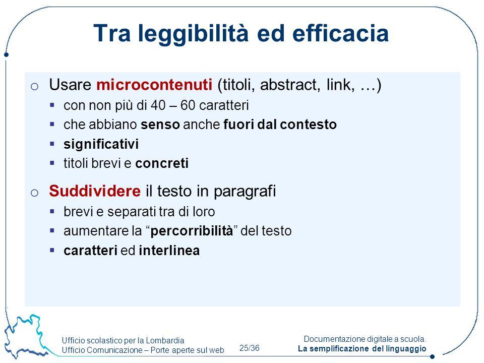 Ufficio scolastico per la Lombardia Ufficio Comunicazione – Porte aperte sul web 25/36 Documentazione digitale a scuola. La semplificazione del lingua