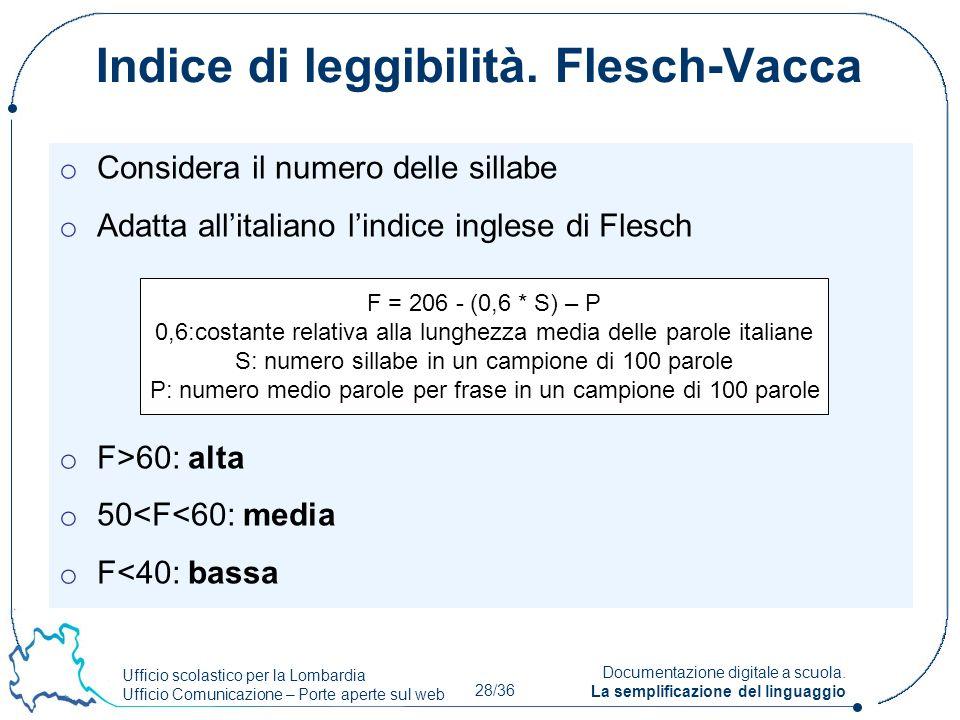 Ufficio scolastico per la Lombardia Ufficio Comunicazione – Porte aperte sul web 28/36 Documentazione digitale a scuola. La semplificazione del lingua
