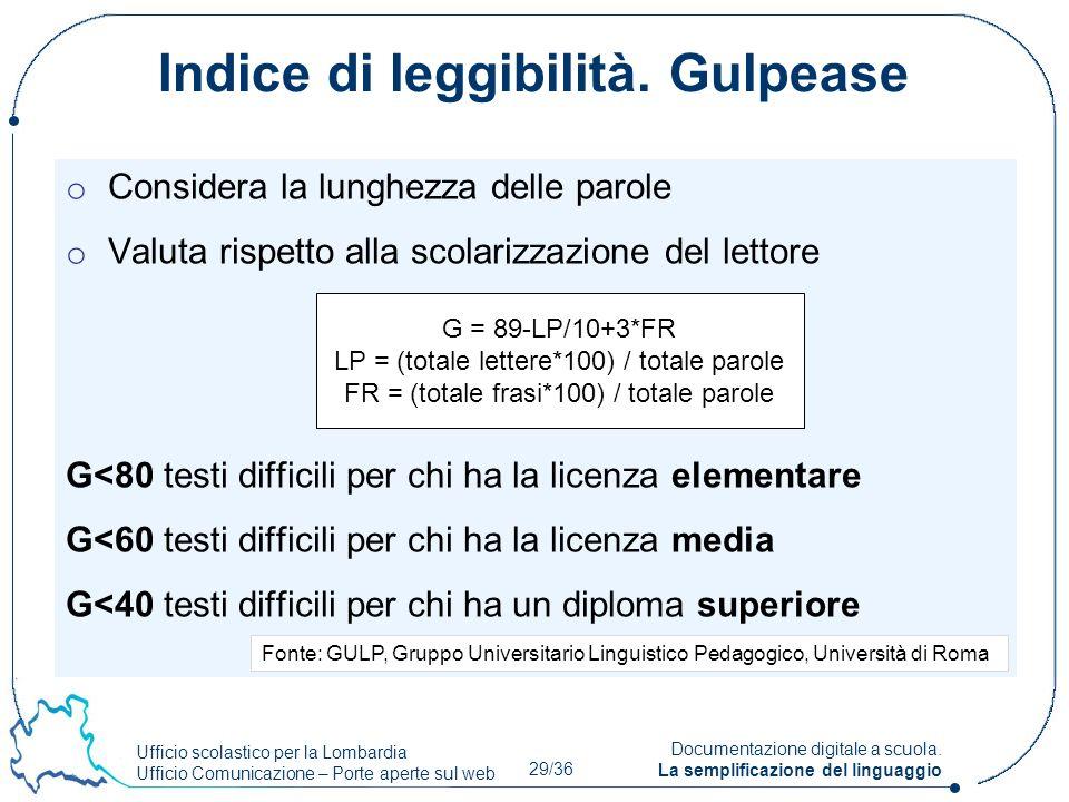 Ufficio scolastico per la Lombardia Ufficio Comunicazione – Porte aperte sul web 29/36 Documentazione digitale a scuola. La semplificazione del lingua