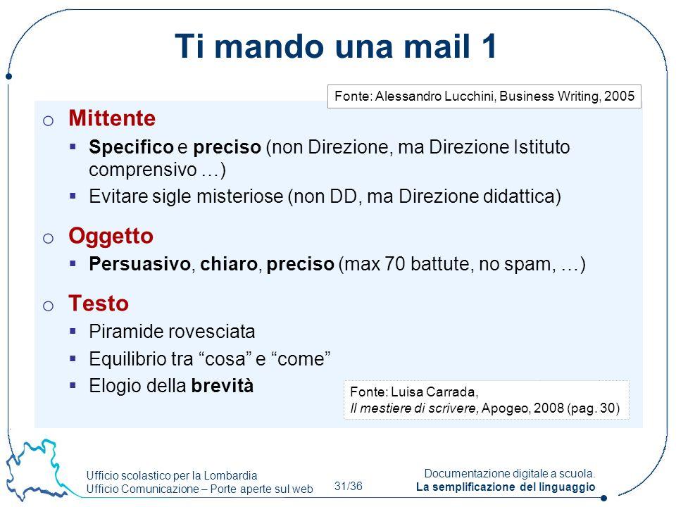 Ufficio scolastico per la Lombardia Ufficio Comunicazione – Porte aperte sul web 31/36 Documentazione digitale a scuola. La semplificazione del lingua