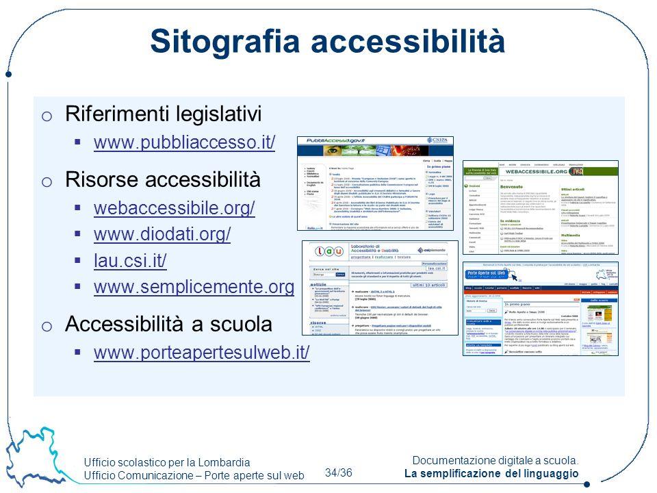 Ufficio scolastico per la Lombardia Ufficio Comunicazione – Porte aperte sul web 34/36 Documentazione digitale a scuola. La semplificazione del lingua