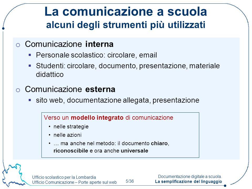 Ufficio scolastico per la Lombardia Ufficio Comunicazione – Porte aperte sul web 5/36 Documentazione digitale a scuola. La semplificazione del linguag