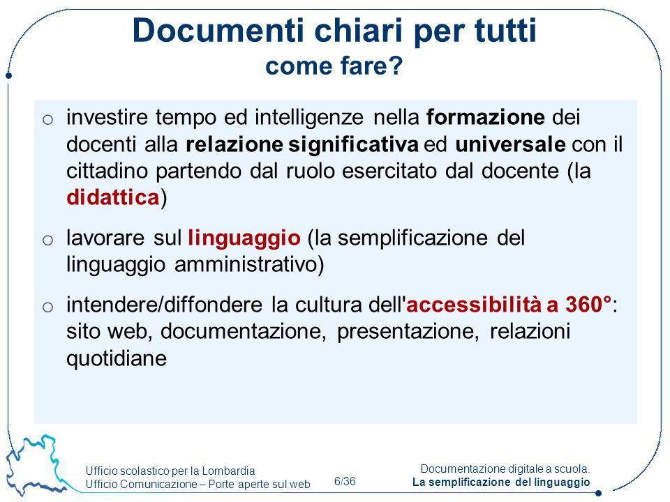 Ufficio scolastico per la Lombardia Ufficio Comunicazione – Porte aperte sul web 6/36 Documentazione digitale a scuola. La semplificazione del linguag