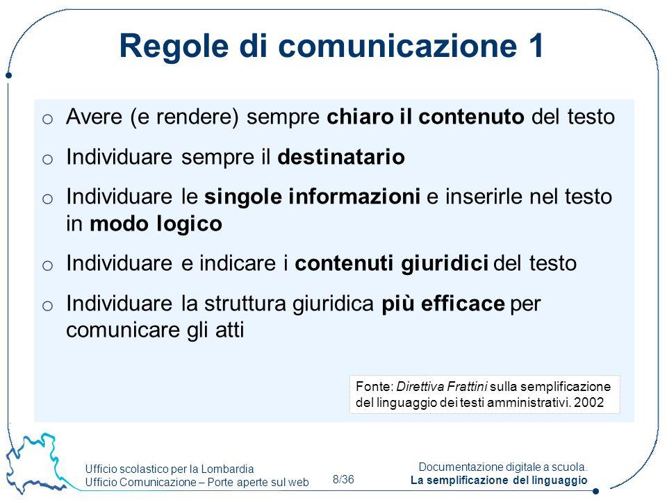 Ufficio scolastico per la Lombardia Ufficio Comunicazione – Porte aperte sul web 8/36 Documentazione digitale a scuola. La semplificazione del linguag