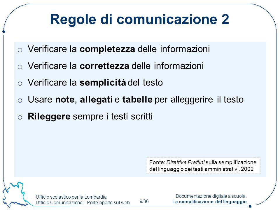 Ufficio scolastico per la Lombardia Ufficio Comunicazione – Porte aperte sul web 9/36 Documentazione digitale a scuola. La semplificazione del linguag