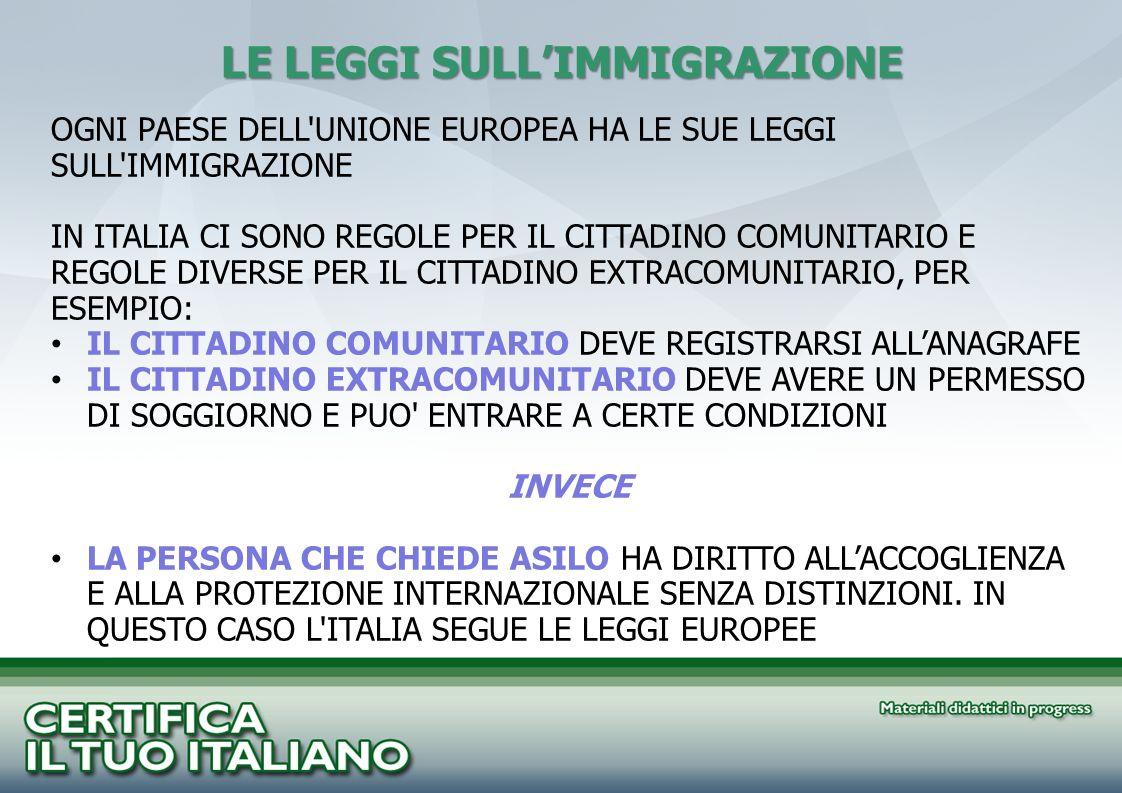 LE LEGGI SULLIMMIGRAZIONE OGNI PAESE DELL'UNIONE EUROPEA HA LE SUE LEGGI SULL'IMMIGRAZIONE IN ITALIA CI SONO REGOLE PER IL CITTADINO COMUNITARIO E REG