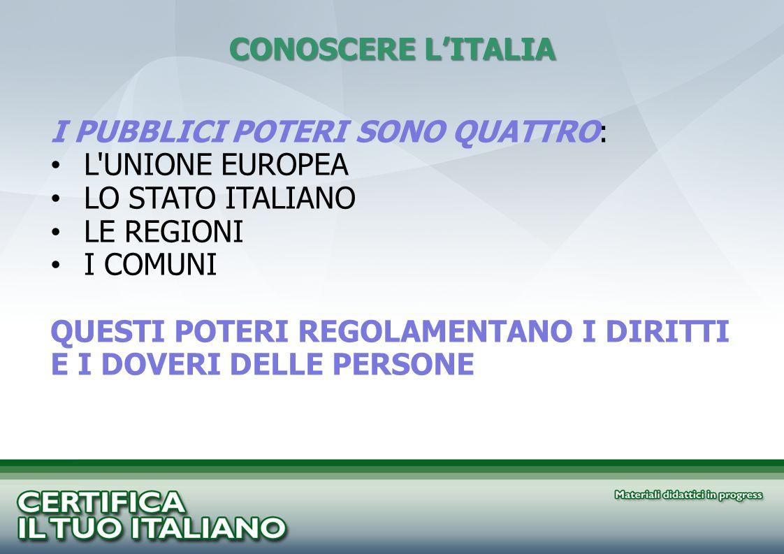 CONOSCERE LITALIA I PUBBLICI POTERI SONO QUATTRO: L'UNIONE EUROPEA LO STATO ITALIANO LE REGIONI I COMUNI QUESTI POTERI REGOLAMENTANO I DIRITTI E I DOV