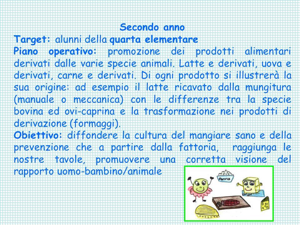 Secondo anno Target: alunni della quarta elementare Piano operativo: promozione dei prodotti alimentari derivati dalle varie specie animali.