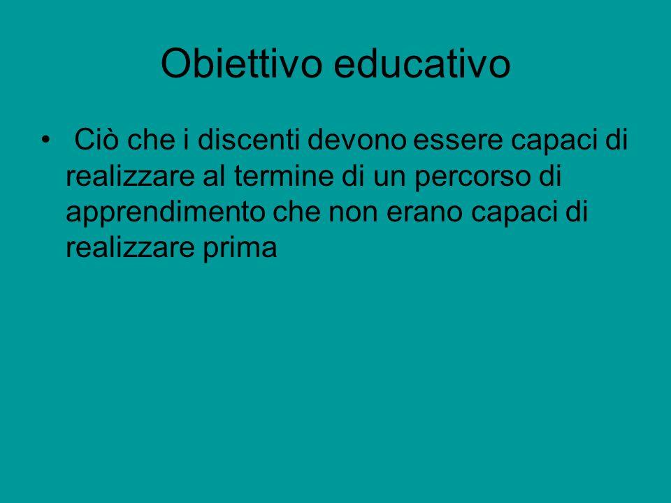 Obiettivo educativo Ciò che i discenti devono essere capaci di realizzare al termine di un percorso di apprendimento che non erano capaci di realizzare prima