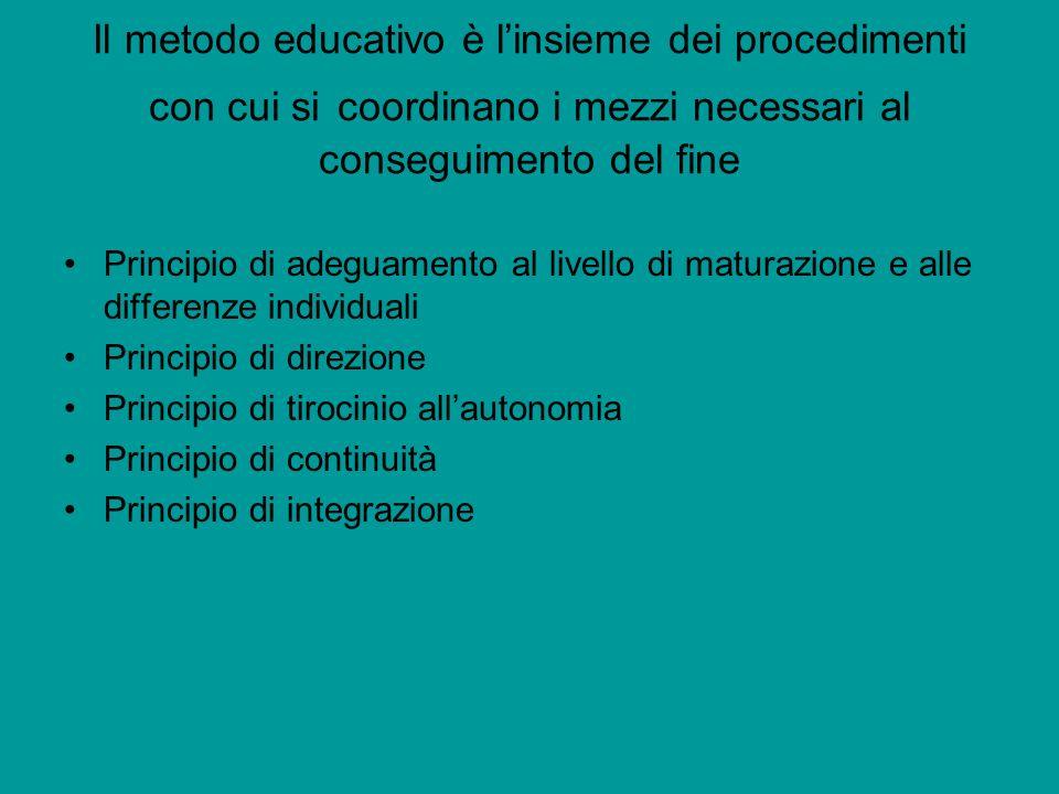Il metodo educativo è linsieme dei procedimenti con cui si coordinano i mezzi necessari al conseguimento del fine Principio di adeguamento al livello di maturazione e alle differenze individuali Principio di direzione Principio di tirocinio allautonomia Principio di continuità Principio di integrazione