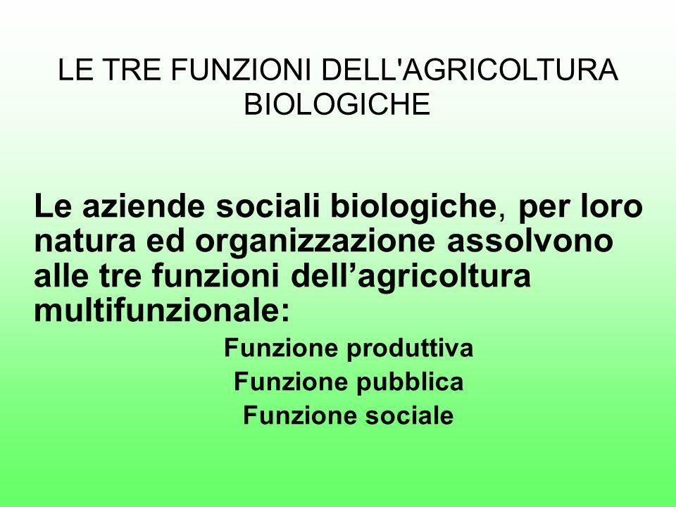 Le aziende sociali biologiche, per loro natura ed organizzazione assolvono alle tre funzioni dellagricoltura multifunzionale: Funzione produttiva Funzione pubblica Funzione sociale LE TRE FUNZIONI DELL AGRICOLTURA BIOLOGICHE
