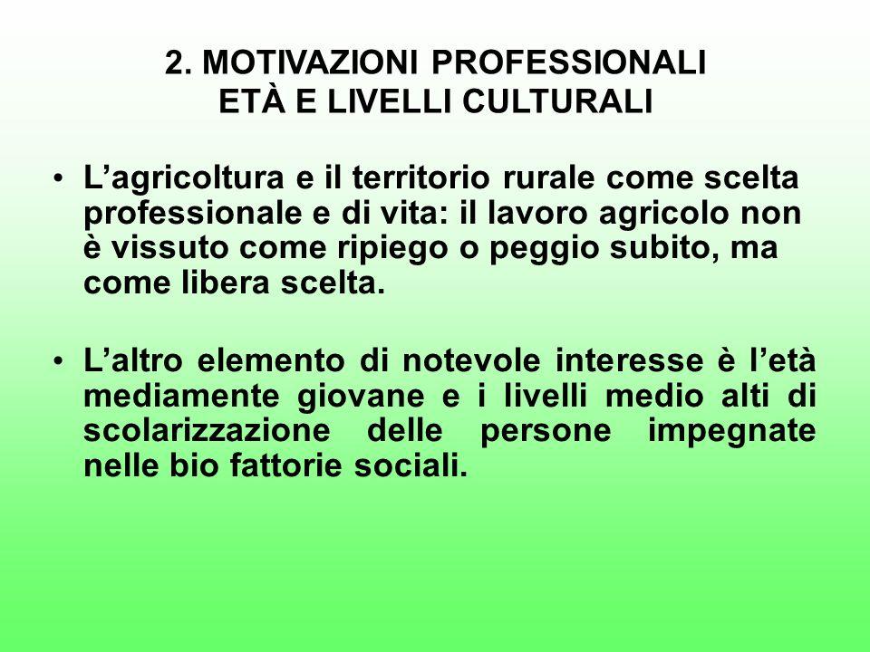 2. MOTIVAZIONI PROFESSIONALI ETÀ E LIVELLI CULTURALI Lagricoltura e il territorio rurale come scelta professionale e di vita: il lavoro agricolo non è