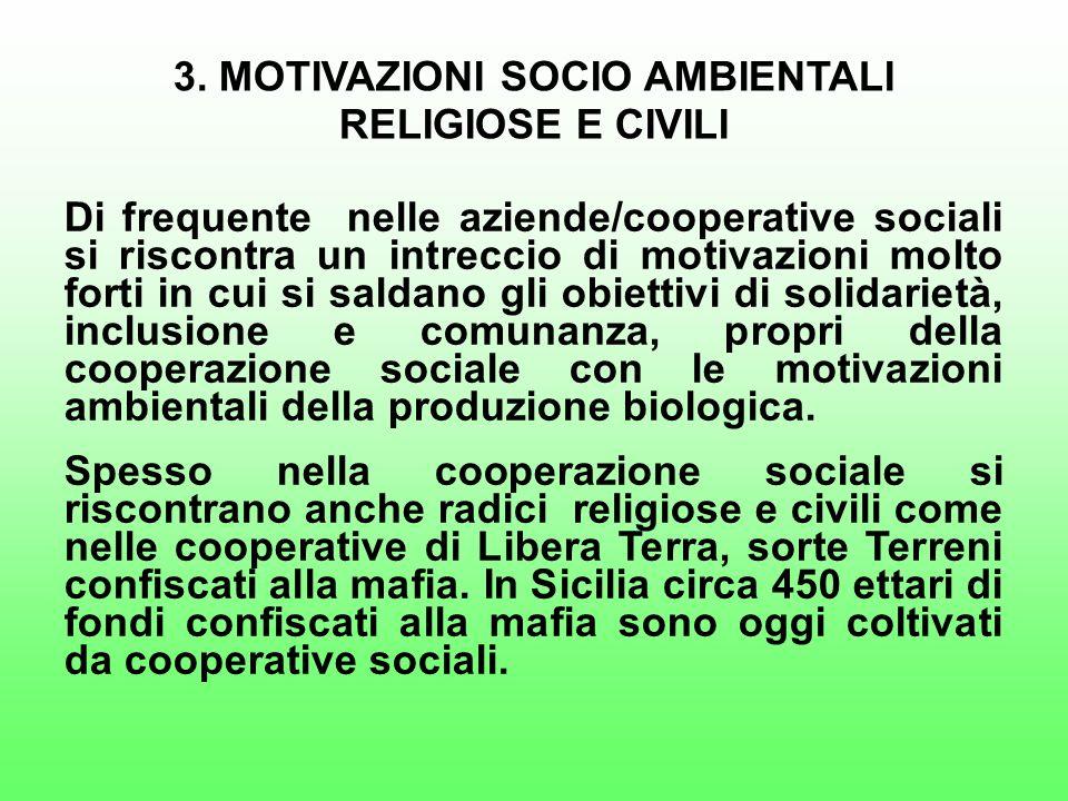 3. MOTIVAZIONI SOCIO AMBIENTALI RELIGIOSE E CIVILI Di frequente nelle aziende/cooperative sociali si riscontra un intreccio di motivazioni molto forti