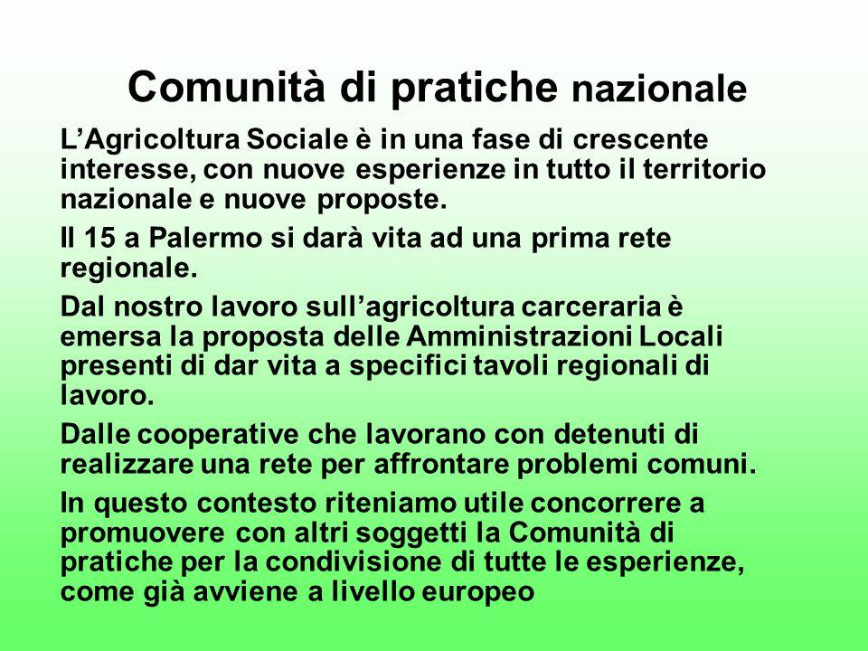 Comunità di pratiche nazionale LAgricoltura Sociale è in una fase di crescente interesse, con nuove esperienze in tutto il territorio nazionale e nuove proposte.