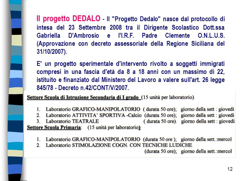 12 Il progetto DEDALO - Il Progetto Dedalo nasce dal protocollo di intesa del 23 Settembre 2008 tra il Dirigente Scolastico Dott.ssa Gabriella D Ambrosio e l I.R.F.