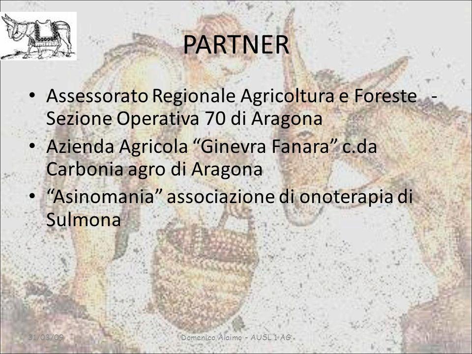 PARTNER Assessorato Regionale Agricoltura e Foreste - Sezione Operativa 70 di Aragona Azienda Agricola Ginevra Fanara c.da Carbonia agro di Aragona Asinomania associazione di onoterapia di Sulmona 31/03/09Domenico Alaimo - AUSL 1 AG