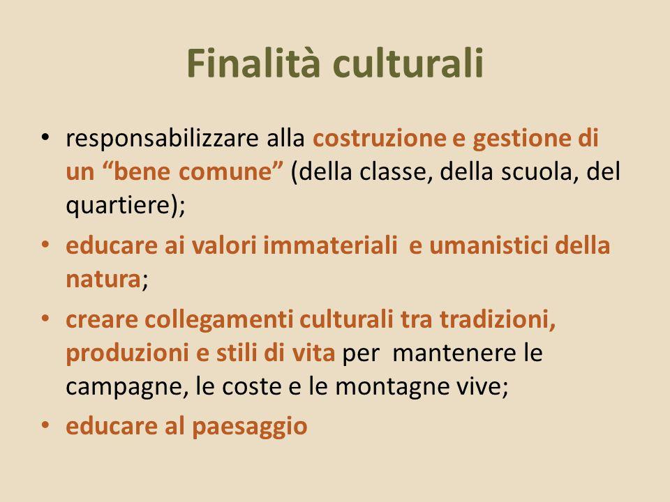 Finalità culturali responsabilizzare alla costruzione e gestione di un bene comune (della classe, della scuola, del quartiere); educare ai valori imma