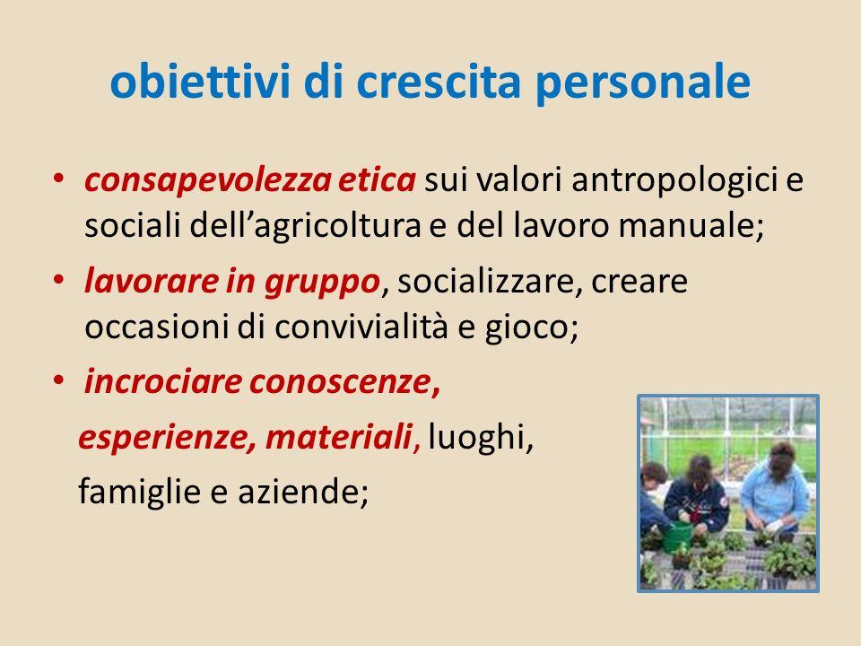 obiettivi di crescita personale consapevolezza etica sui valori antropologici e sociali dellagricoltura e del lavoro manuale; lavorare in gruppo, soci