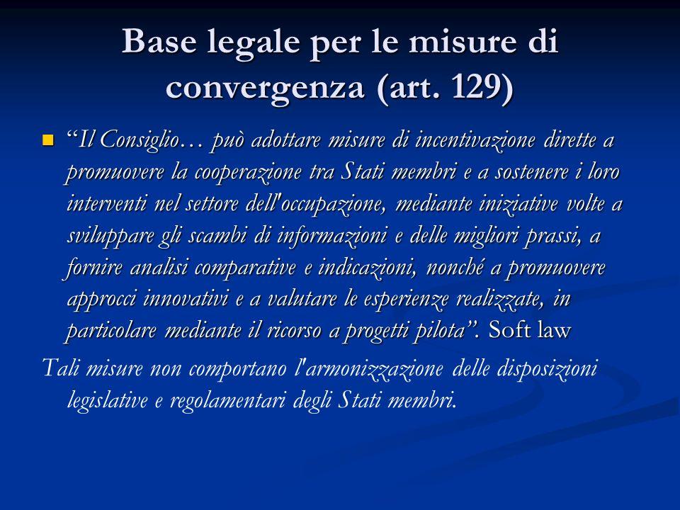 Base legale per le misure di convergenza (art. 129) Il Consiglio… può adottare misure di incentivazione dirette a promuovere la cooperazione tra Stati