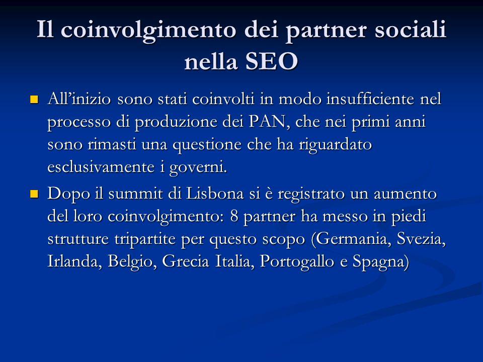 Il coinvolgimento dei partner sociali nella SEO Allinizio sono stati coinvolti in modo insufficiente nel processo di produzione dei PAN, che nei primi anni sono rimasti una questione che ha riguardato esclusivamente i governi.