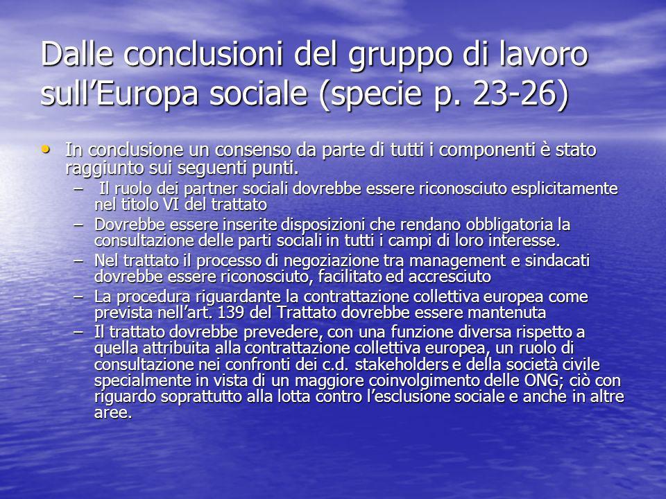 Dalle conclusioni del gruppo di lavoro sullEuropa sociale (specie p.