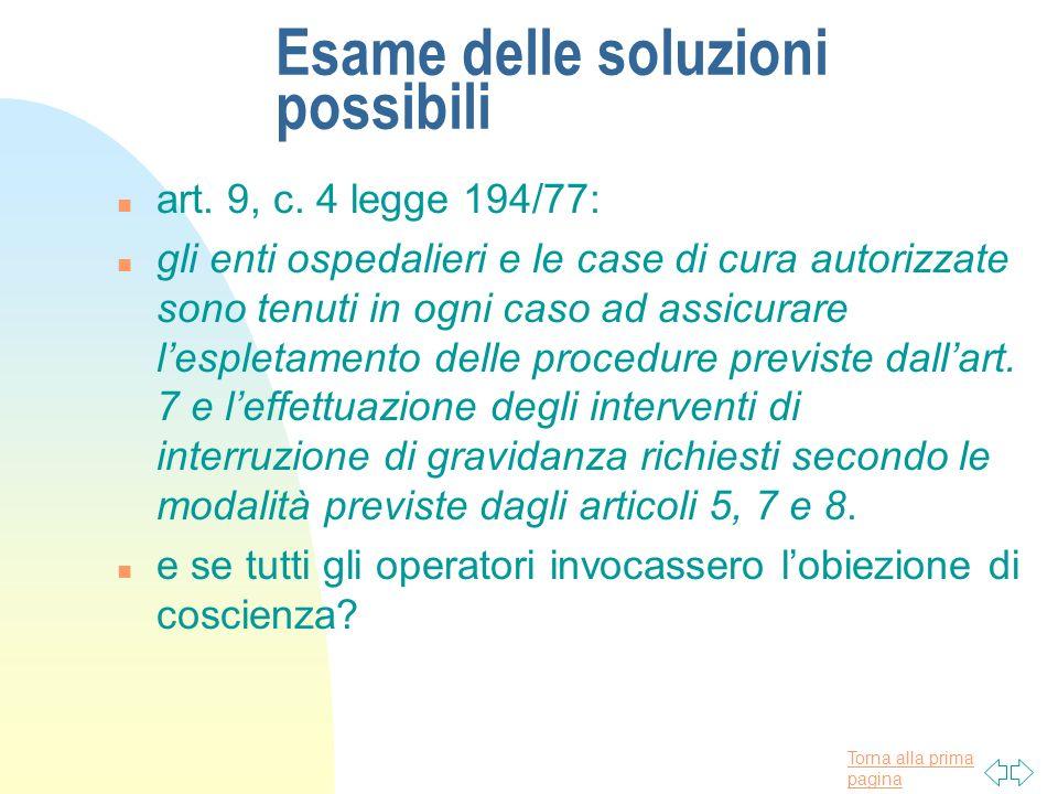 Torna alla prima pagina Esame delle soluzioni possibili n art. 9, c. 4 legge 194/77: n gli enti ospedalieri e le case di cura autorizzate sono tenuti