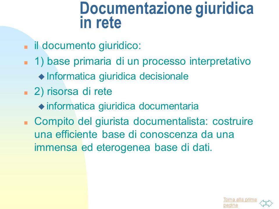 Torna alla prima pagina Documentazione giuridica in rete n il documento giuridico: n 1) base primaria di un processo interpretativo u Informatica giur